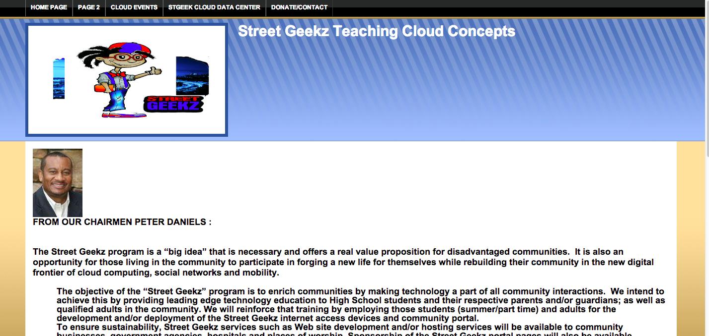 Website for the potential Street Geekz program.