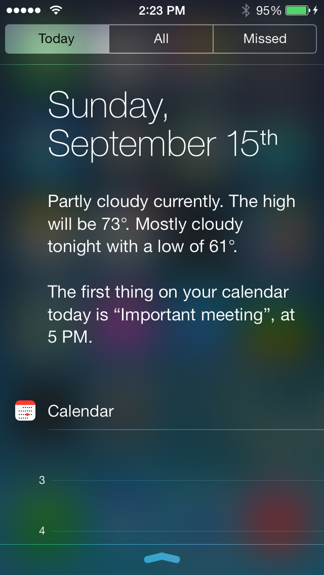 The more expanded Today View in iOS 7.