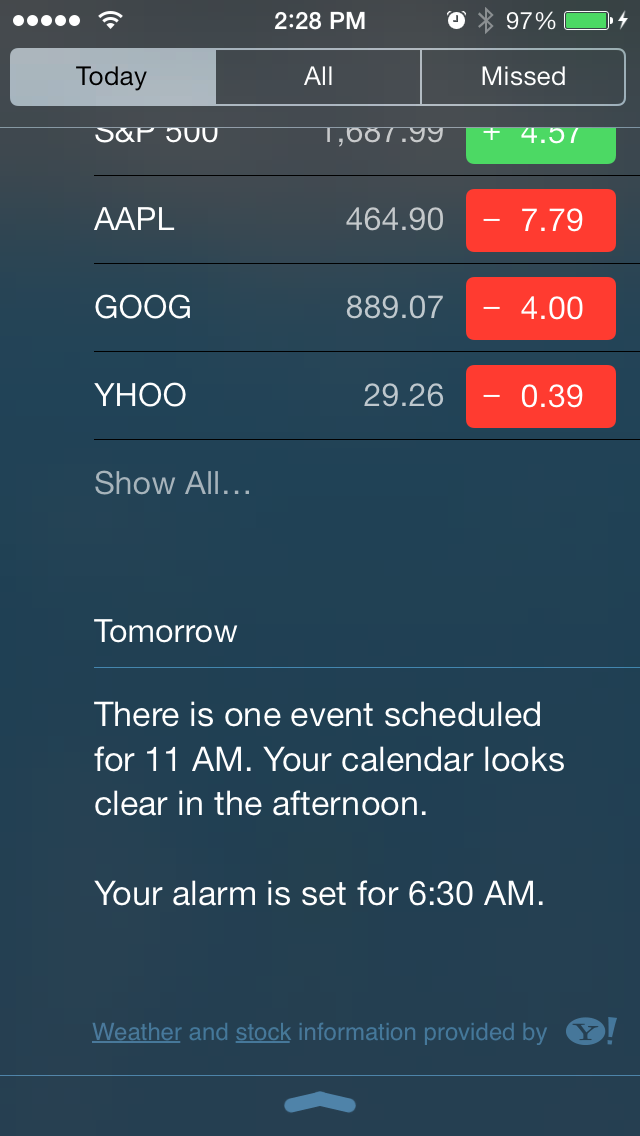 Scroll down to the bottom, and the Today View will give you a glimpse at what tomorrow looks like.
