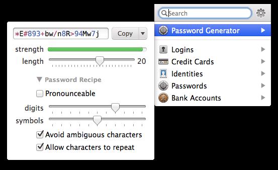 1Password Menubar tool.