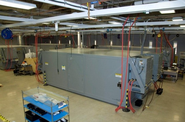 Data center in a box: Electronic Modular Enclosures being configured at Raytheon's Portsmouth, Rhode Island, facility.