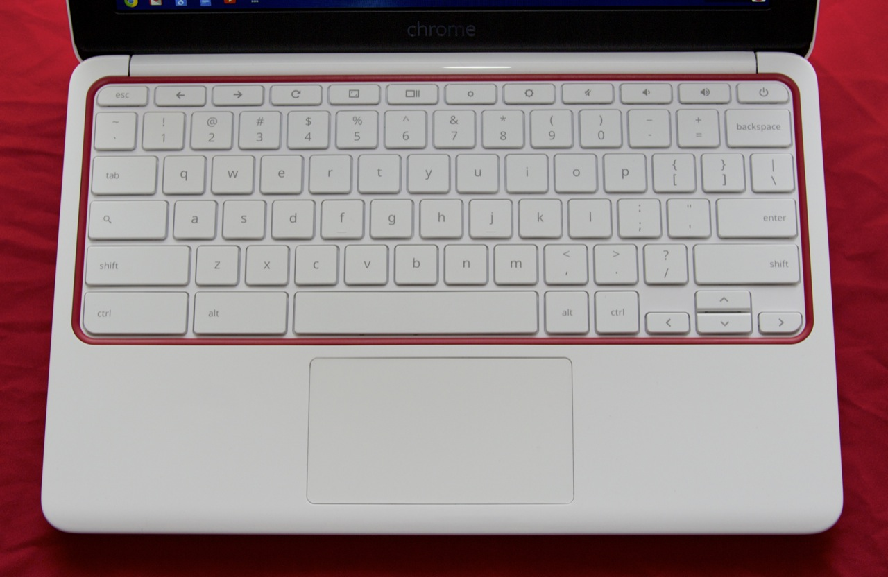 "The ""standard"" Chromebook keyboard is slightly different from a Windows or Apple keyboard, losing the Command or Windows key in favor of wider left ctrl and alt keys and losing the numbers on the row of function keys. The Caps Lock key has also been supplanted by a Search key, but it can be mapped to Caps Lock in the Chrome OS settings."