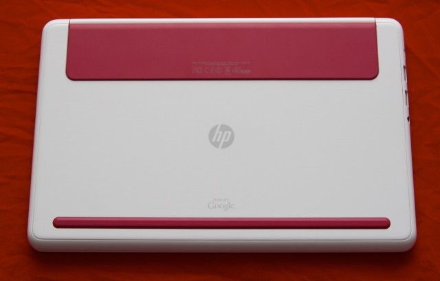 "Most of the laptop's branding can be found on the bottom in the form of a small HP logo, the standard regulatory text and logos, and a ""made with Google"" marking that implies that Google had some input on the way this laptop looks and works."