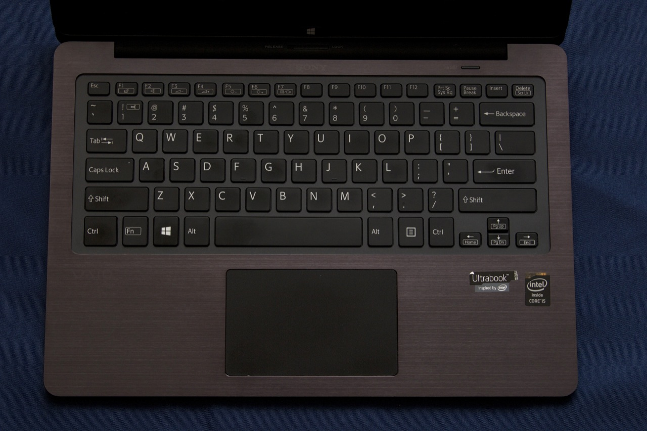 The backlit keyboard. The key above it is the VAIO Assist button, which can be used to launch Sony's diagnostic and recovery tools.