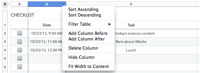 The new column headers in Numbers work similarly. In adding this feature, Apple removed the ability to sort only part of your spreadsheet.