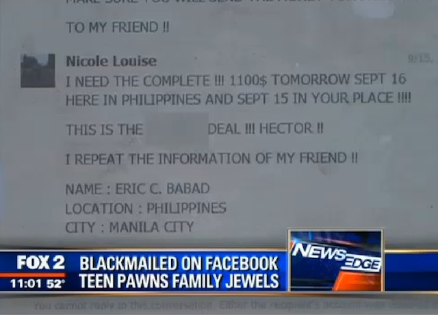 The blackmail demand sent to Hernandez's Facebook account.