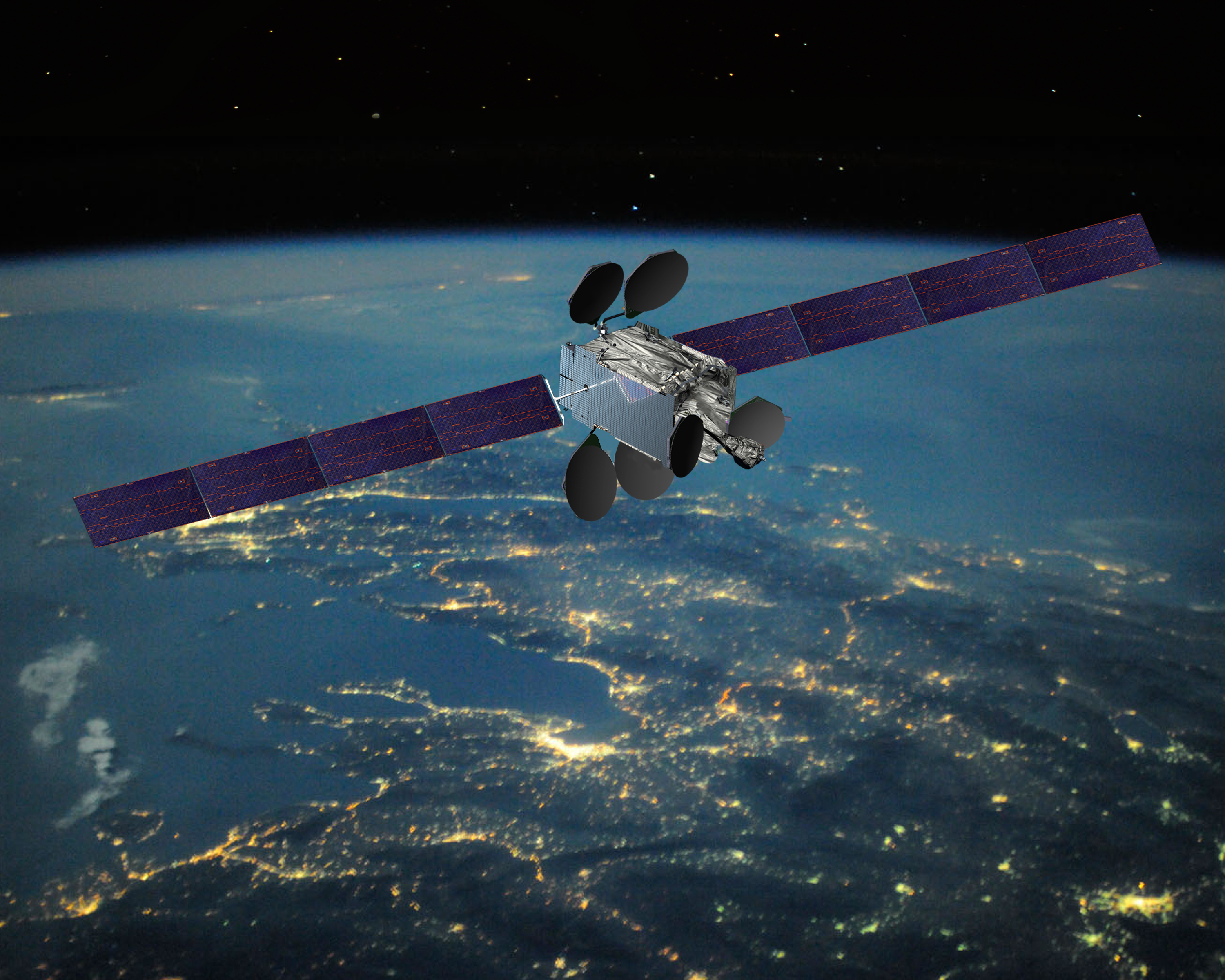 An artist's rendering of Intelsat's Epic class satellite, coming to the skies in 2015 to bring more bandwidth everywhere.