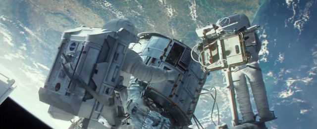"Sandra Bullock's character is poised on the end of the Space Shuttle Remote Manipulator System arm, standing in front of a tool stanchion that Scoville calls ""right out of the Hubble repair book."""