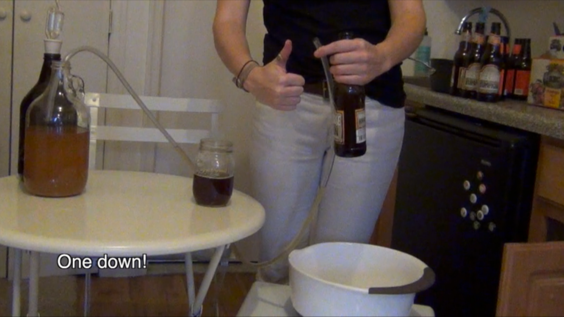 Inexplicably, I fill the first bottle without spilling a drop. This process and more are all in the video.