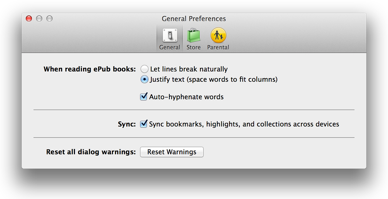iBooks preferences