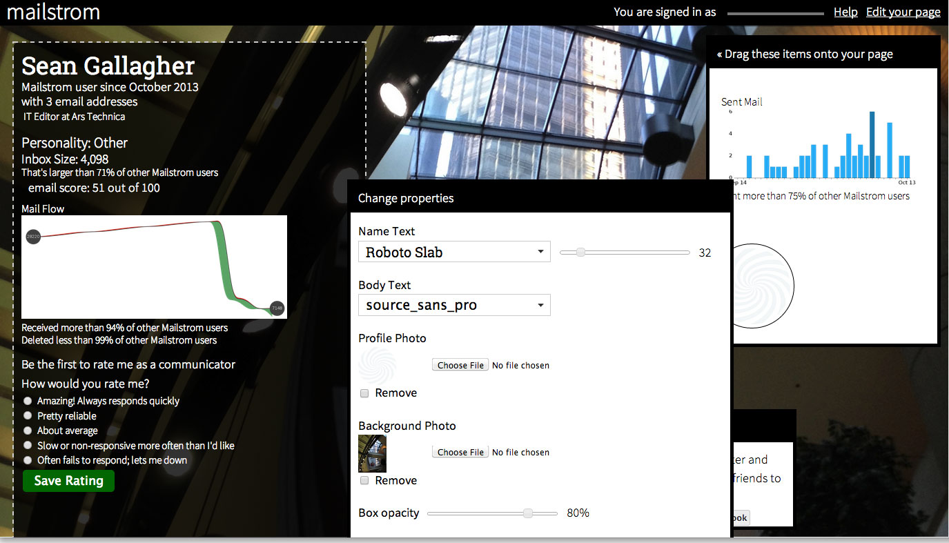 Mailstrom's profile page has a similar interface to the About.me social profile service.