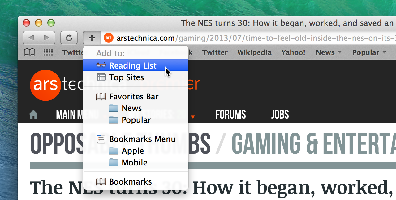 Safari's new add button