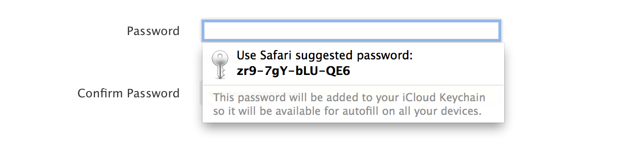 Safari password suggestion