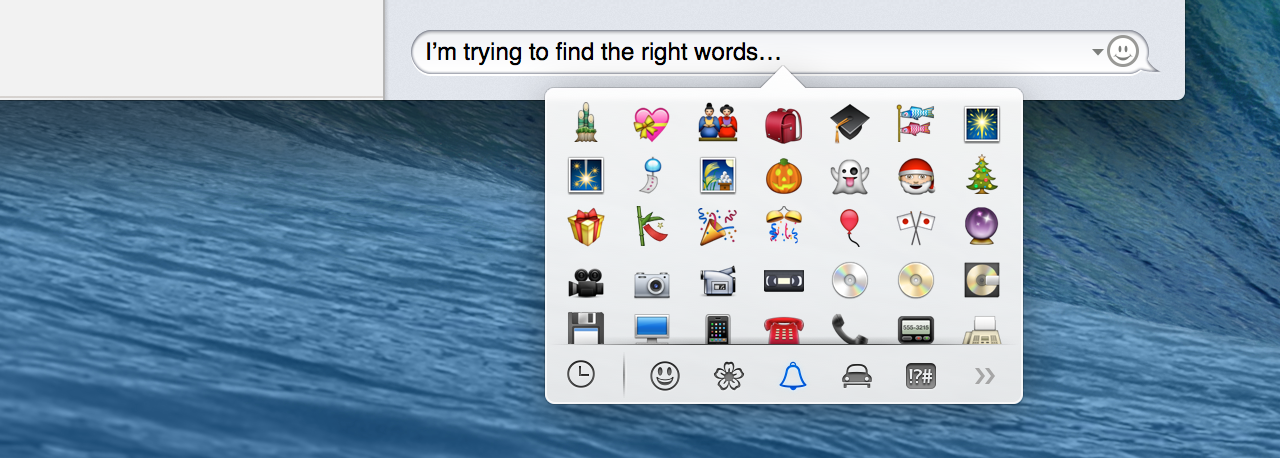 Special characters, now in popover form, available through a new keyboard shortcut: command-control-space.