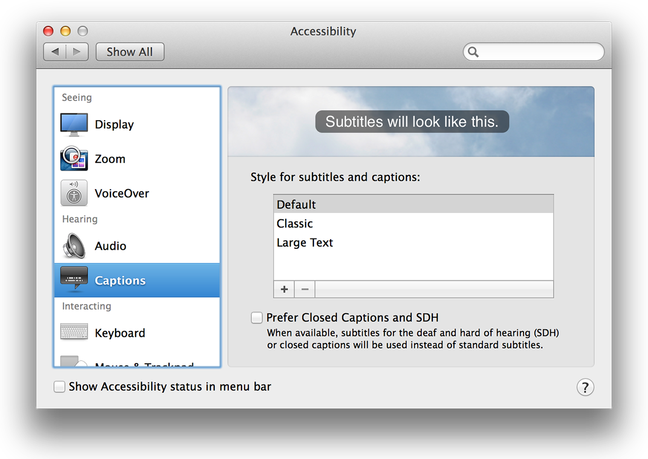 Accessibility preferences: captions