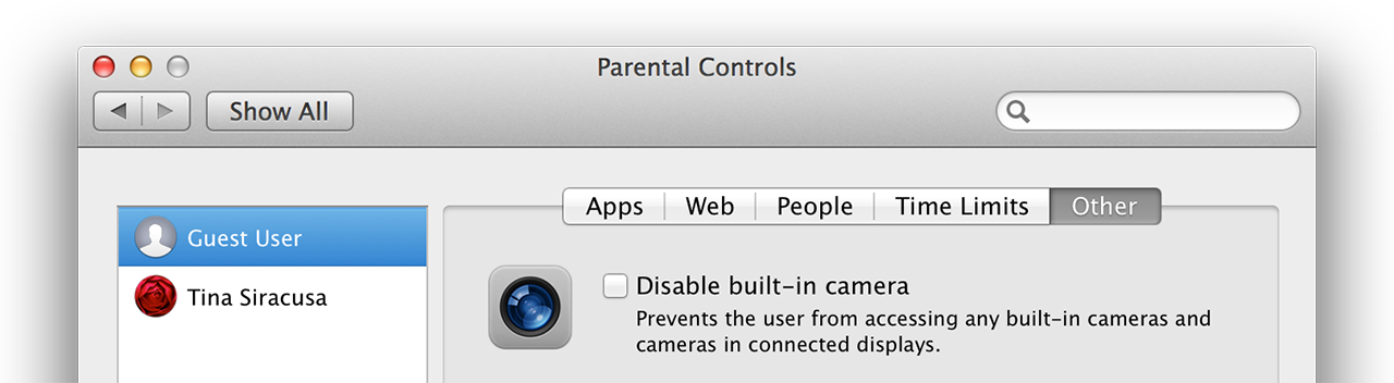 Parental controls: disable camera