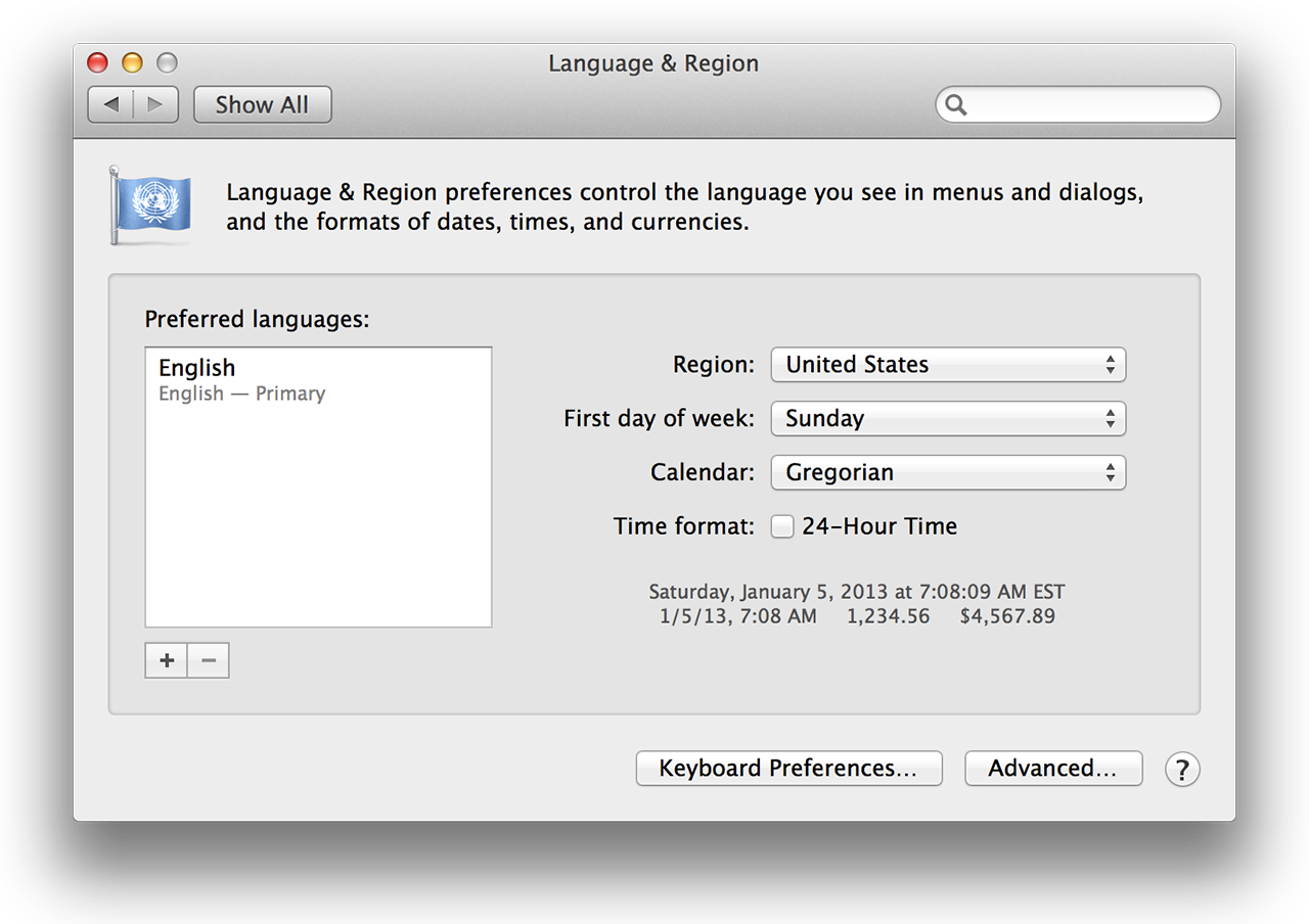 Language & Region preference pane