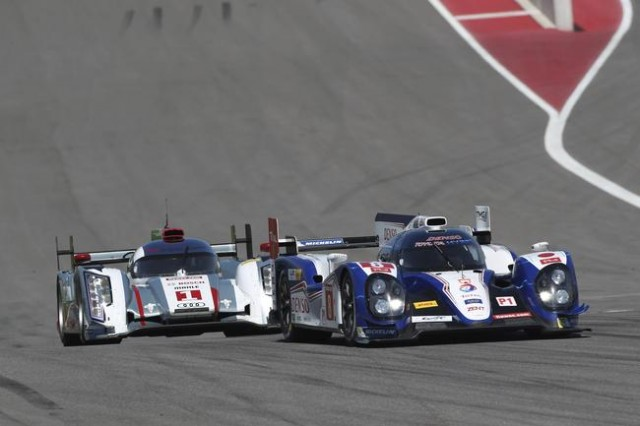 Toyota and Audi battle at the Circuit of the Americas 2013.