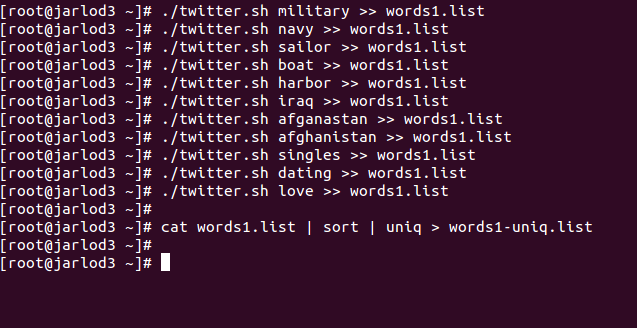 A screenshot of Dustin's script that searches Twitter for military- and dating-related words.