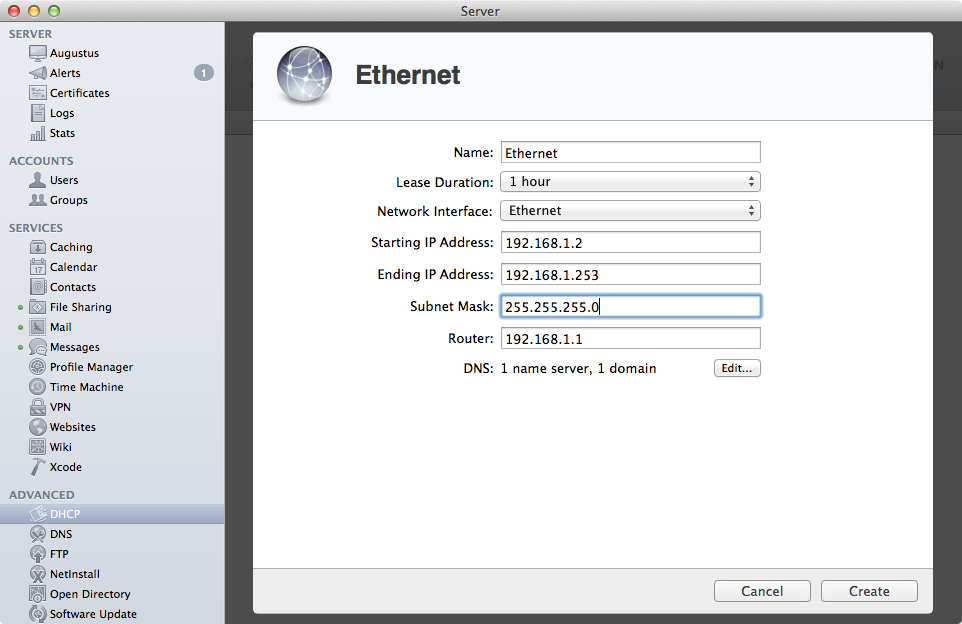 Creating a new subnet with the DHCP service.