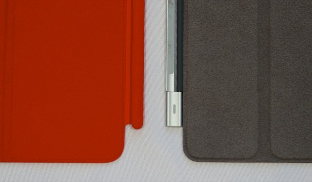 The new cover (left) adopts the same hinge as the iPad mini version. The old hinge (right) would wiggle around independently of the cover, making it a little more irritating to remove and replace quickly.