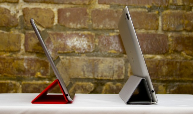 The new Smart Cover tilts the iPad Air (left) back a little more than the old one did.