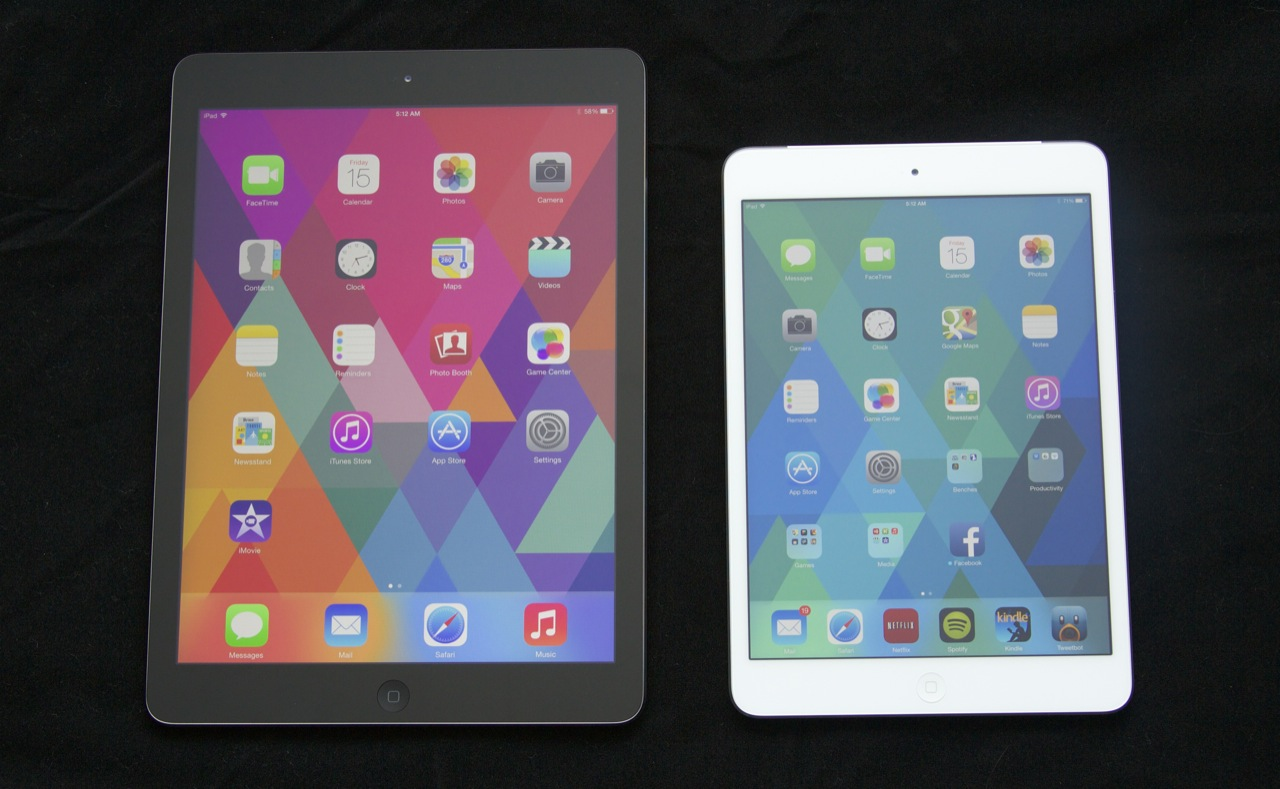 The iPad mini (right) looks like a smaller version of the iPad Air (left). Or does the Air look like a bigger version of the mini?