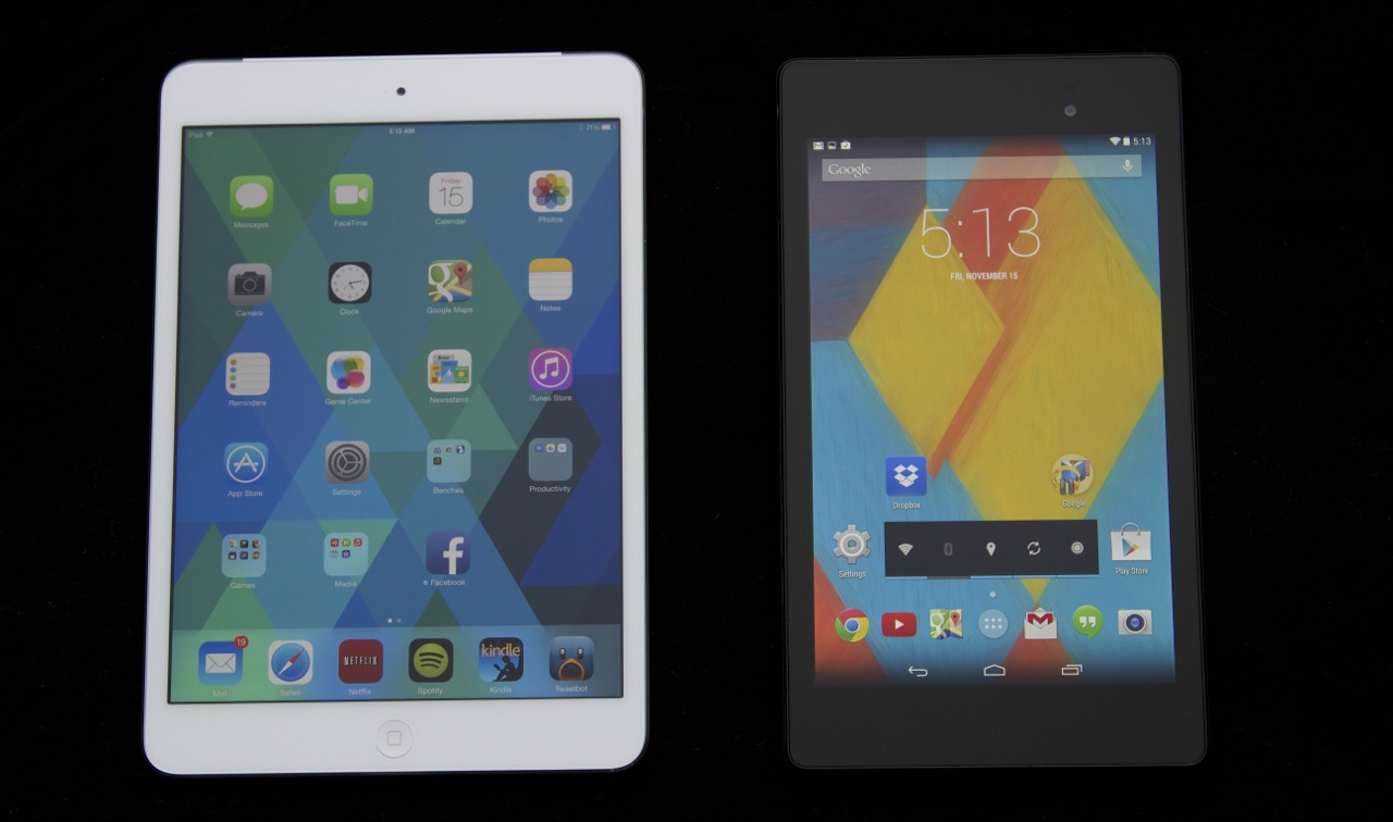"The Retina mini (left) and the 2013 Nexus 7 (right) have near-identical pixel densities and great screens. Because its LCD and glass layers are fused, color and contrast ""pop"" just a bit more on the Nexus, but the mini has more screen real estate to offer."