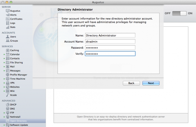 Creating a Directory Administrator account for Open Directory.