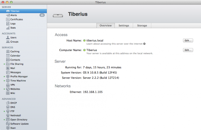Managing a Mountain Lion server from the Mavericks version of Server.app.
