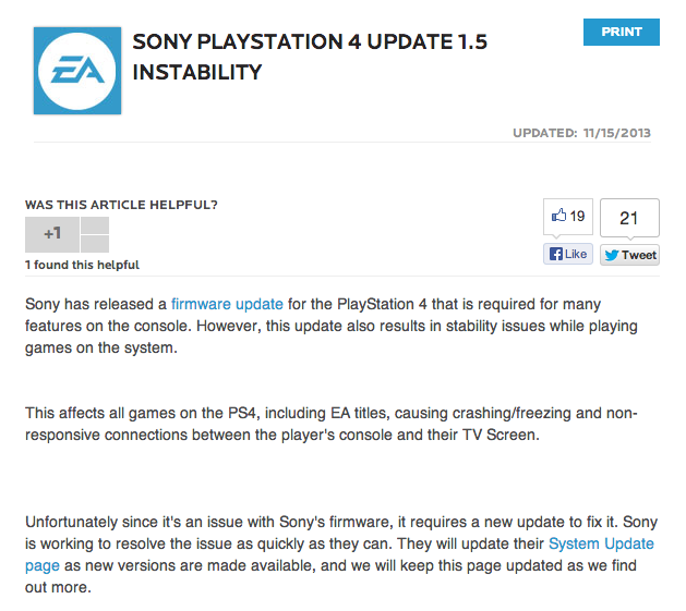 A screen shot of EA's since-deleted notice.