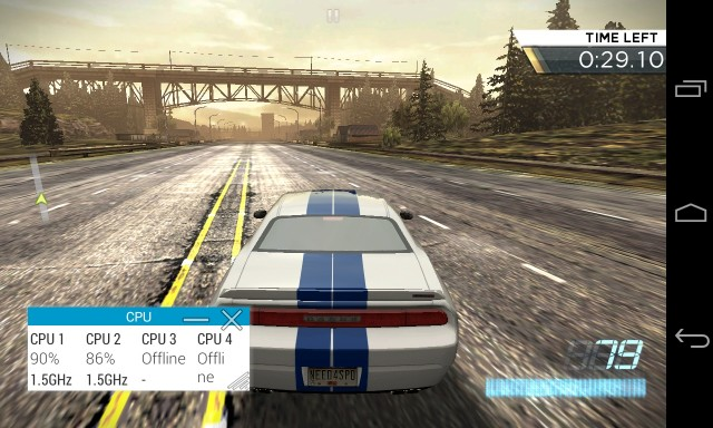 Running <em>Need for Speed Most Wanted</em> on the Nexus 4. Even on a slightly older phone, games rarely max out the CPU...