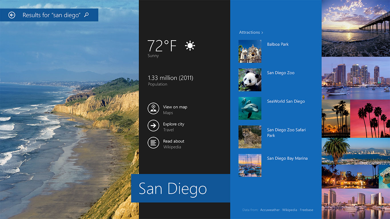 The Windows 8.1 search leverages Bing technology.