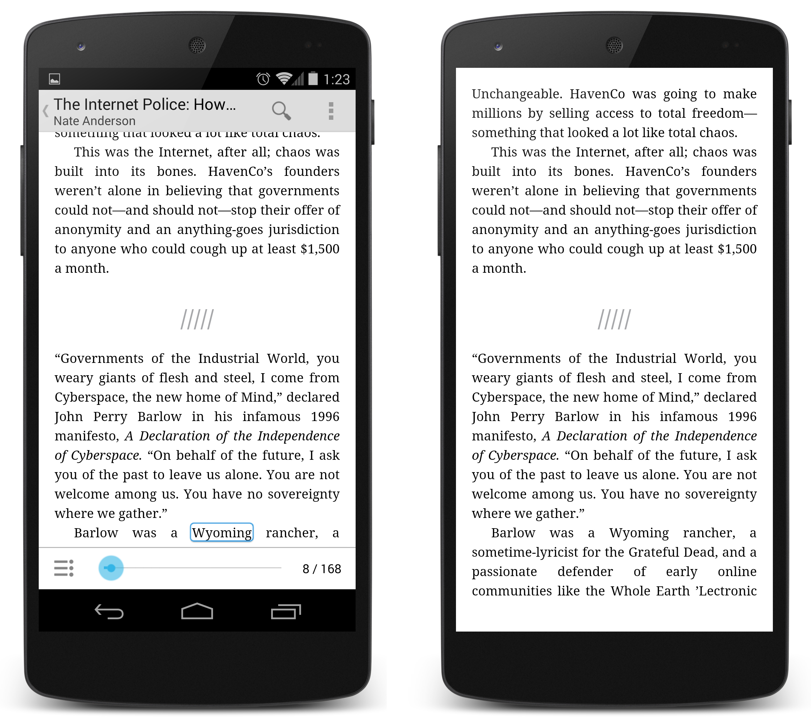 "Left: The normal Play Books interface. Right: The new ""immersive"" mode, which hides <em>all</em> of the UI."