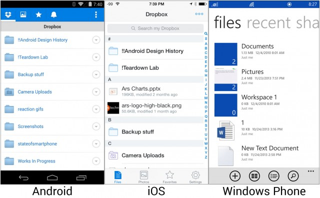Dropbox on Android and iOS and Skydrive on Windows Phone.