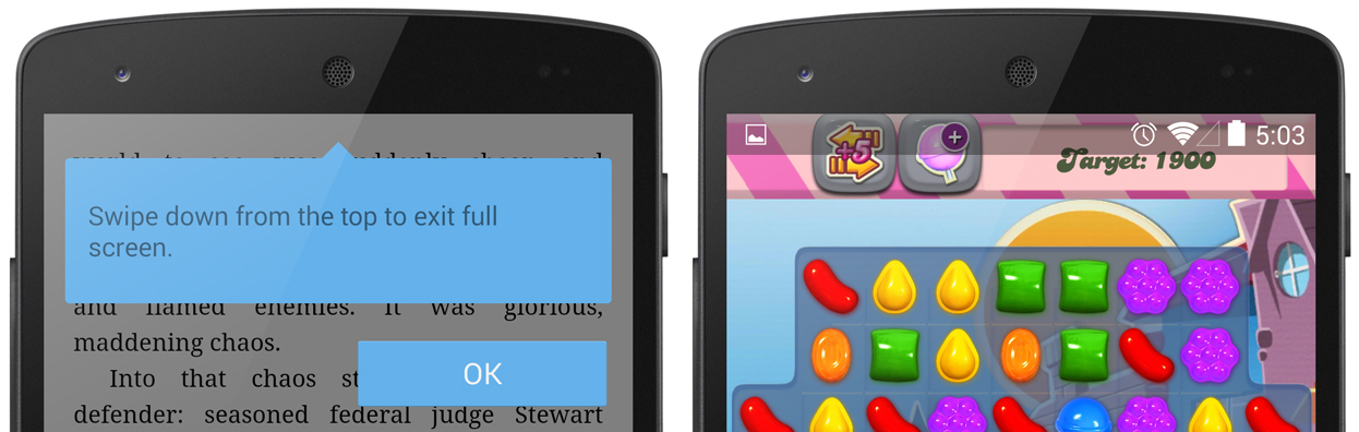Left: the immersive mode tooltip. Right: the status bar displaying in a full-screen app after a swipe-down gesture.