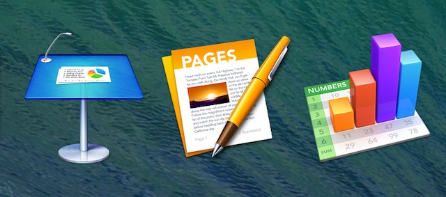 The icons for Keynote 6.0, Pages 5.0, and Numbers 3.0 (iWork '13).