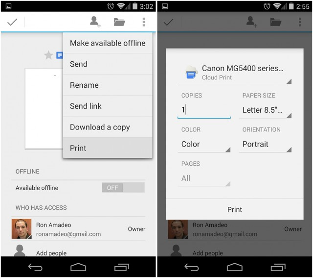 """Left: The """"Print"""" option in Google Drive. Right: The print dialog."""