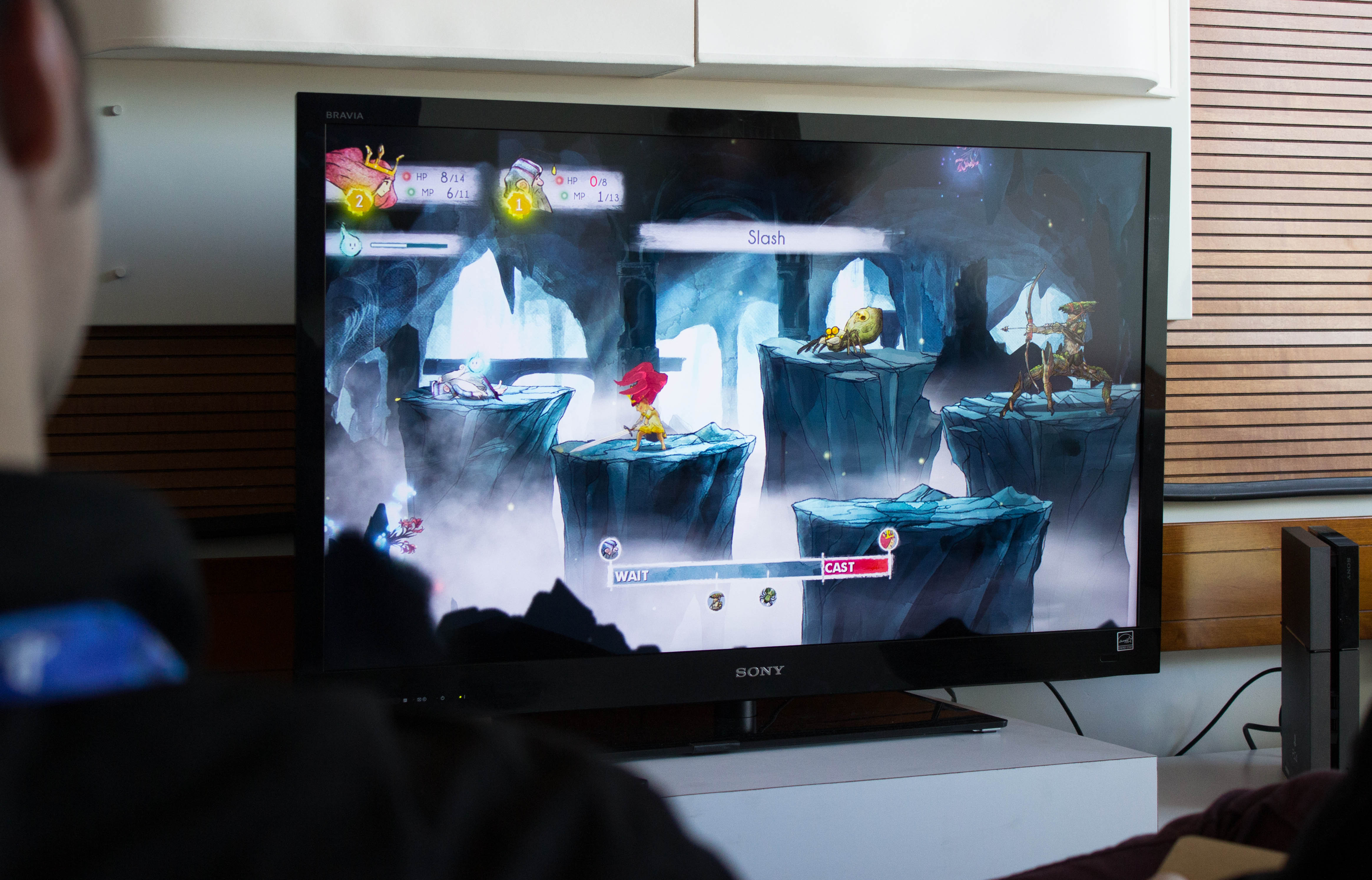 One of <em>Child of Light</em>'s battle scenes.