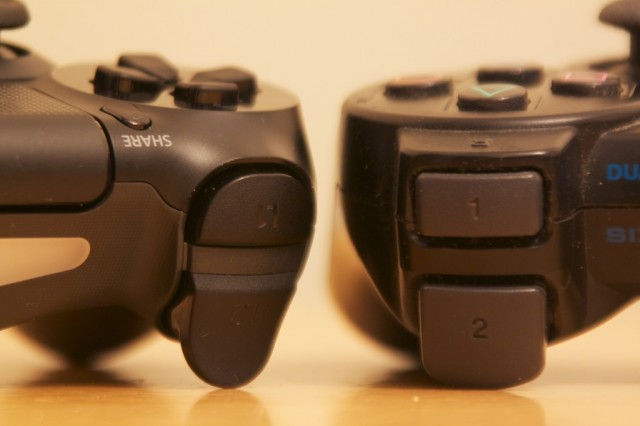 The secondary shoulder buttons on the PS4 controller (left) are worlds better than those on the PS3 (right).