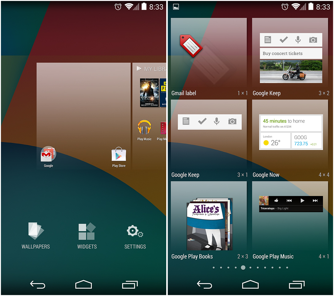 Left: The screen that pops up when the home screen is long pressed. Right: The widget drawer.