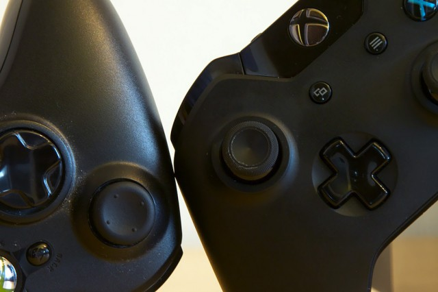 Besides the different texture, the Xbox One analog sticks (right) are a tad smaller than those on the Xbox 360 controller.