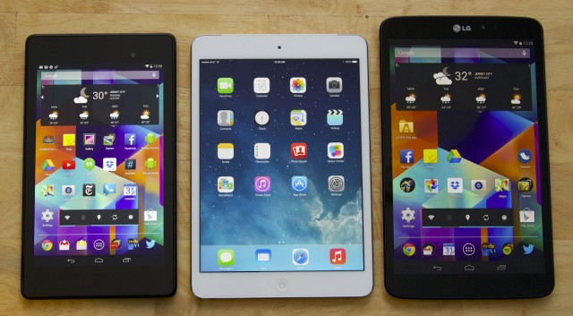The 2013 Nexus 7, the Retina iPad mini, and the G Pad 8.3. The G Pad is a little narrower and a littler taller than the iPad, but the two are otherwise comparable in size and weight.