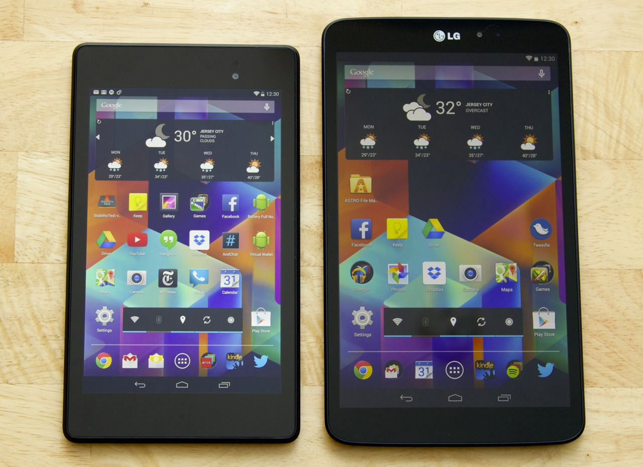 The G Pad (right) looks and feels like a slightly larger 2013 Nexus 7 (left).