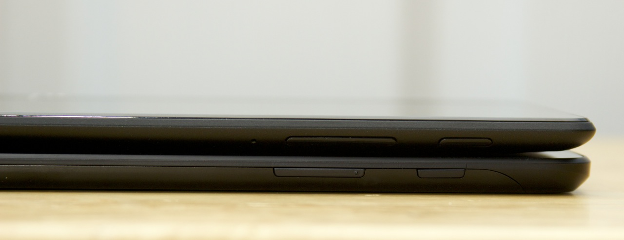 The power and volume buttons are in the same place in the G Pad (bottom) and the Nexus 7 (top).