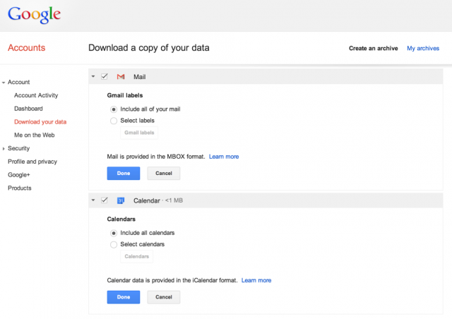 Google announces data export feature for Gmail, Google Calendar data