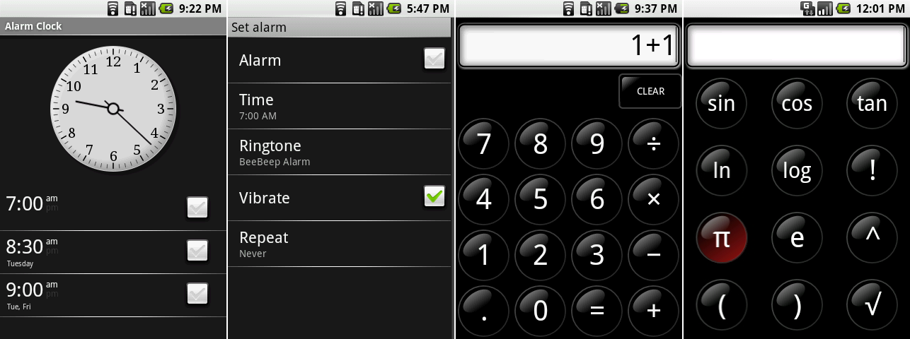The main alarm screen, setting an alarm, the calculator, and the calculator advanced functions screen.
