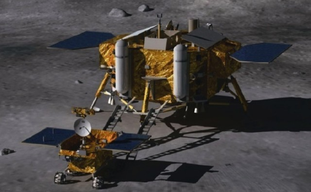 The Chang'e 3 lunar lander and moon rover.