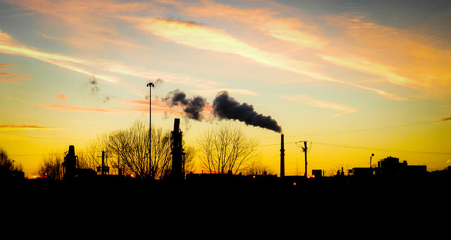 Sunset over a coal plant in Chicago.