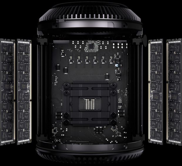 The RAM is the only component in the new Mac Pro that users will be able to upgrade easily (or at all).